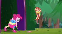 Pinkie follows the trail of candy outside EGSBP