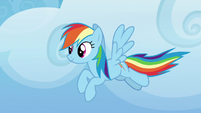 Rainbow Dash flying in the sky S8E24