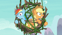 Rainbow and AJ trapped in branches and vines S8E9