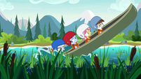 Rumble pushing the campers' canoe S7E21
