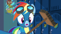 Soarin presents Rainbow with a broom S6E7