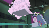 The Power Ponies being sprayed upon S4E06