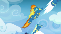 Wonderbolts flying up into the sky S7E7