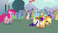 Applejack carrying a fainted Rarity S3E05.png