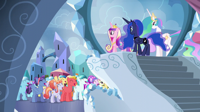 File:Crystal Ponies cheer for the Crystalling S6E1.png