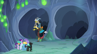 Discord Changeling guides the party down left tunnel S6E26