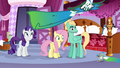 Fluttershy and Rarity see animals dragging dyed fabric S6E11.png
