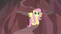 Fluttershy flying down a rocky path S9E9