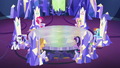 Main cast at their thrones; Rarity walking S5E19.png