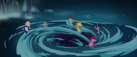 Mane Six and Spike getting sucked in a whirlpool MLPTM