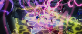 Mane Six and princesses surrounded by energy MLPTM
