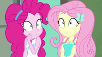 Pinkie and Fluttershy hear Trixie burst in EGFF