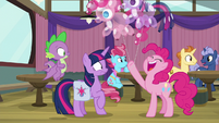 Pinkie holding Twilight and Pinkie balloons S9E16