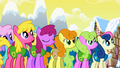 Ponies listening to Mayor Mare S1E11.png