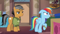Rainbow Dash groaning at Quibble S6E13