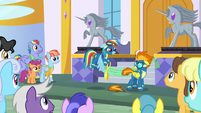 Rainbow accidentally cuts off a piece of Spitfire's tail S7E7