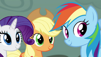 Rarity, Applejack, and Rainbow smiling S4E18