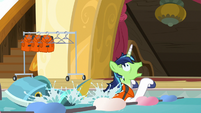 Shining Armor stumbles into the pool water S7E22