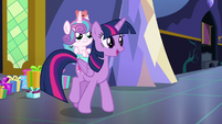 Twilight asks Shining and Cadance where they're going S7E3
