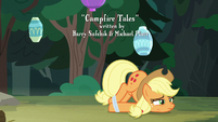 Applejack on the ground with web-covered hooves S7E16
