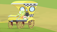 Granny Smith on the taxi waving S4E17