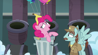 "Pinkie Pie ""with a slice eaten out of it"" S7E23"