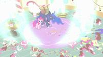 Princess Luna blasts the cakes away S5E13