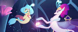 Princess Skystar watching Queen Novo perform a spell MLPTM