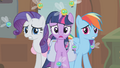 Rarity, Twilight and Rainbow shocked S01E10.png