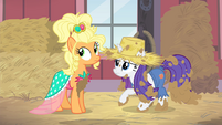 Rarity and Applejack looking at Trenderhoof S4E13