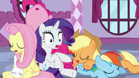 Rarity surprised upon waking up S9E7