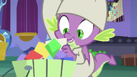 Spike retrieves brochure from trash S9E19