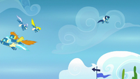 Wonderbolts soaring through the sky S7E23
