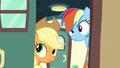 Applejack and Rainbow open the train car door S6E18.png