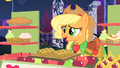 Applejack gives apple fritters to Rarity for free S1E26.png