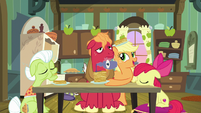 Applejack giving pancakes to Big Mac S9E10