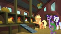 Applejack presenting her chicken coop S6E10