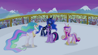 Celestia, Luna and Cadance singing around Twilight S4E25