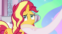 Celestia puts a hoof under Sunset's chin EGFF