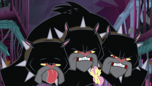 Cerberus growling at Fluttershy S8E25