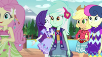 Fluttershy, Lyra, and Bon Bon go down the runway EG4