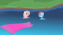 Fluttershy and Rainbow Dash land in a stream S2E10