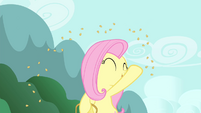 Fluttershy throwing grains S4E14