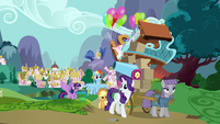 Main ponies follow Maud out of Ponyville S8E18