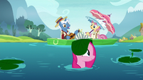Pinkie Pie popping out of the pond S8E3