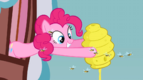 Pinkie Pie pouring honey out of a beehive S3E8