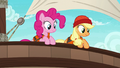 Pinkie and Applejack looking overboard S6E22.png