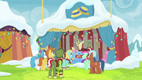 Ponies gather around Flim and Flam's stand MLPBGE