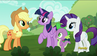 S06E10 Applejack, Twilight i Rarity na farmie