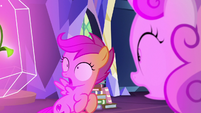 Scootaloo and Sweetie see flower glowing S9E22